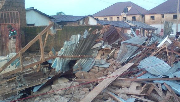 collapsed two-storey building in Jos
